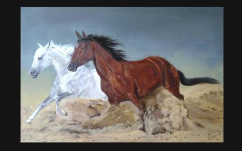 Oil Painting - Running Horses
