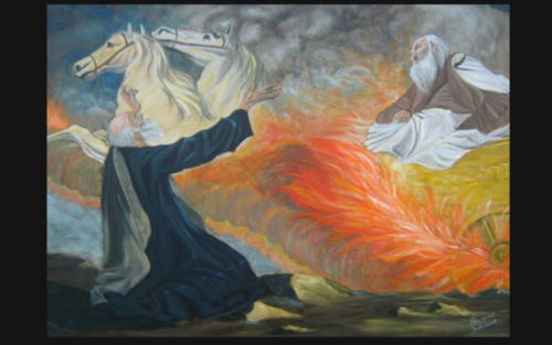 Oil Painting  -  Elijah and the Chariot of Fire